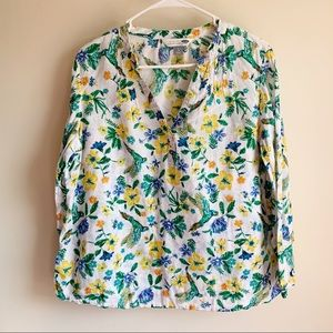 Old Navy Tropical Floral Parrot Linen Popover Top